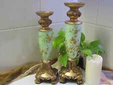 NEW - Pair of Resin Candlestick - Green & Gold Decoration- See Photos