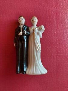 Cake Topper Wedding Vintage Bride And Groom Glass