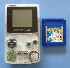 Gameboy Color System Clear Refurbished w/ Pokemon Blue New Battery