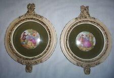 Vintage Pair of Framed Victorian Couple Medallion Prints