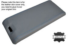 BLUE STITCH ARMREST LID GREY LEATHER COVER FITS MERCEDES SL CLASS R129 89-02