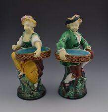 Pair Minton Majolica Hogarth Match Boy & Girl Vesta Victorian Salts