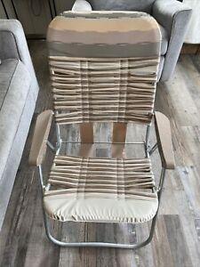 Vintage Folding Lawn Chair Vinyl Tubing Brown & Beige