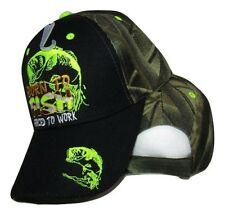 Born to Fish Forced Work (Neon Green) Black Face Camouflage Embroidered Cap Hat