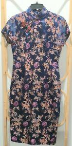 Japanese 50/60's silk dress. Midnight Blue, Retro/vintage.