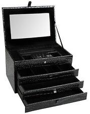 Brubaker Caja de joyería y estuche de viaje Negro Imitación Cuero Croco Look