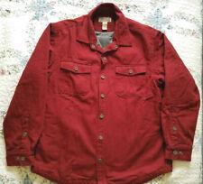 DULUTH TRADING Hanger Bender Fire Hose Shirt Jac Garnet Red Gray Fleece Lined