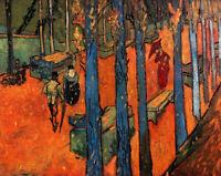 Falling Autumn Leaves Van Gogh Detail Fine Art Print Canvas Repro Small 8x10
