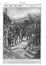 1917 ANTIQUE PRINT - WW1- GOD SAVE THE KING, ITALIAN AND BRITISH TROOPS
