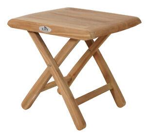 KMH® Teak Fußhocker Fußablage Hocker Klapphocker Ablage Holz Beistelltisch Tisch