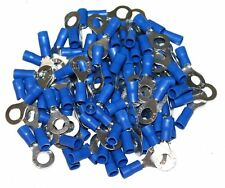 Lot de 100 cosses électriques rondes oeil oeillet anneau plates 6mm bleu - C1276