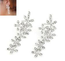 Vintage Silver Plated Crystal Flower Dangler Long Drop Earrings Women Jewelry