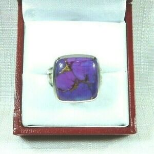 Square Genuine Purple Turquoise Solid Sterling Silver Ring- size (8 3/4)