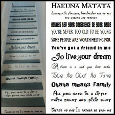 LARGE STAIR RISER STICKERS DISNEY FONTS FROZEN LION KING ALL FAVOURITE QUOTES