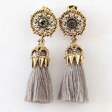 Women's Gold Plated Bling Rhinestone Grey Tassel Dangle Earrings Hippy Boho