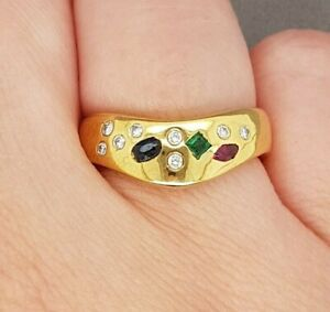 Emerald, Sapphire, Ruby & Diamond Dress Ring 18ct Yellow Gold Preloved VAL $2100