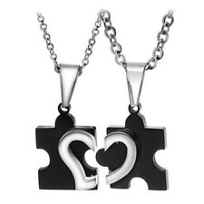 2pcs Stainless Steel Puzzle Heart Necklace Couple Friendship Best Friend Jewelry
