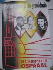 CUBAN  POLITICAL POSTER.OSPAAAL Lumumba,Minh,Che.( For a Just World ). ORIGINAL
