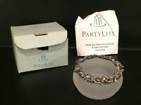 PartyLite Hydrangea Wreath Frost Glass Pewter Tea Light Candle Holder w/candle