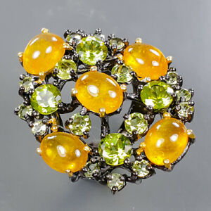 Unique Design Sapphire Ring Silver 925 Sterling  Size 6.5 /R178779