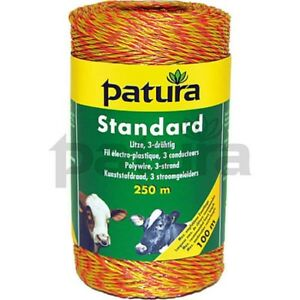 Patura® Standard Polywire - 3 Strand Stainless Steel - Yellow and Orange 180000