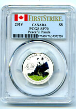 2018 $8 CANADA SILVER PCGS SP70 PANDA PEACEFUL FRIENDSHIP FIRST STRIKE RARE TOP