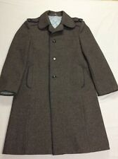 Vintage Gray Heavy Duty Wool Military Style Trench Grey Overcoat Mens Size 40