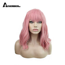 Anogol Synthetic Halloween Cosplay Wig Short Bob With Bangs Natural Wavy Pink