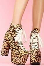 Unif Cheetah Leopard Pony Hair Hellbound Platform Shoes Size 6 Brown Printed