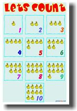 Let's Count - New School Classroom Math Poster