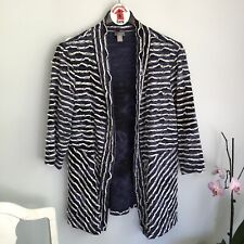 Chicos Travelers Collection Open Front Sweater Jacket Size 3 (XL) Blue White