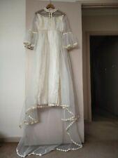 VINTAGE - 60s Wedding Dress satin layer floral trim Empire Waist XS - bell slv