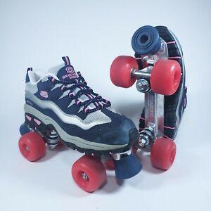 Skechers Sport WOMEN'S Navy Blue & Pink 4-Wheeler Roller Skates Size 8.5 US