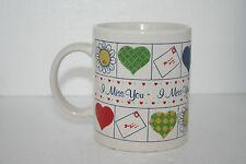 "Vtg Stoneware ""I Miss You"" Mug Cup Iconic Envelopes Hearts Kisses Flower Face"