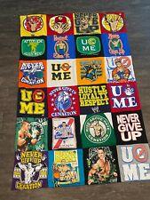 John Cena Custom 24 panel WWE 4'x6' t-shirt twin size boys kids blanket quilt