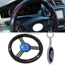 Ford Logo Black Leather Genuine Steering Wheel Cover w/ DIE CAST Keychain