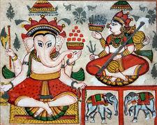 Ancienne peinture indienne Ganesh et Sarasvati Inde 19e