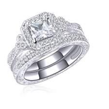 Fashion Size 9 2Pcs White Topaz 10KT Gold Filled Halo Women's Wedding Ring Sets