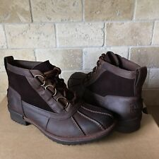 UGG HEATHER COCONUT SHELL BROWN LEATHER WATERPROOF RAIN ANKLE BOOT SIZE 12 WOMEN