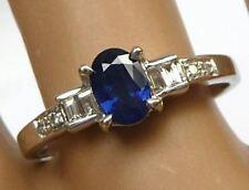 14k Ceylon Blue Sapphire & Diamond Ring WG 0.65CT Oval, Baguette & Round 0.81TCW