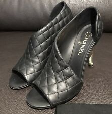 **WORN 1x CHANEL CC Classic Quilted Black Leather Pumps Heels Open Toe Shoe Bag