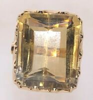 14 Carat Yellow Gold Huge 23.94 cts! Citrine Statement Ring size L 11.08 Grams