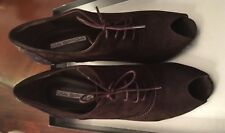 New Via Spiga  Lace Up Patent Leather Suede Booties, Brown High Heels Open Toe