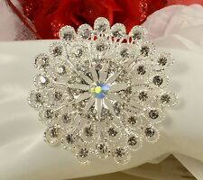 "2.5"" Silver White Filigree Tear Drop Diamante Rhinestone Crystal Brooch Pin"