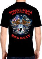Mens Sturgis Bike Rally 2020 Patriotic POW-MIA Vet Eagle Biker Tee Shirt