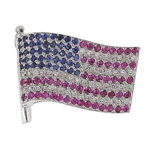 18k White Gold 0.50ctw Ruby, Sapphire, & Diamond United We Stand Flag Pendant
