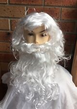 White Curly Santa Wig And Beard Set Adult Christmas Costume Accessory Fancy