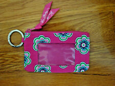 Vera Bradley Zip ID Card Holder Key Ring Coin Purse Pink Floral ***Preowned***