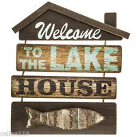 "Rustic Cabin/Cottage Wood Country Wall Decor  ""Welcome To the Lake House"""