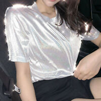 US Women's blouse holographic effect retro bright round neck Tee Short sleeve